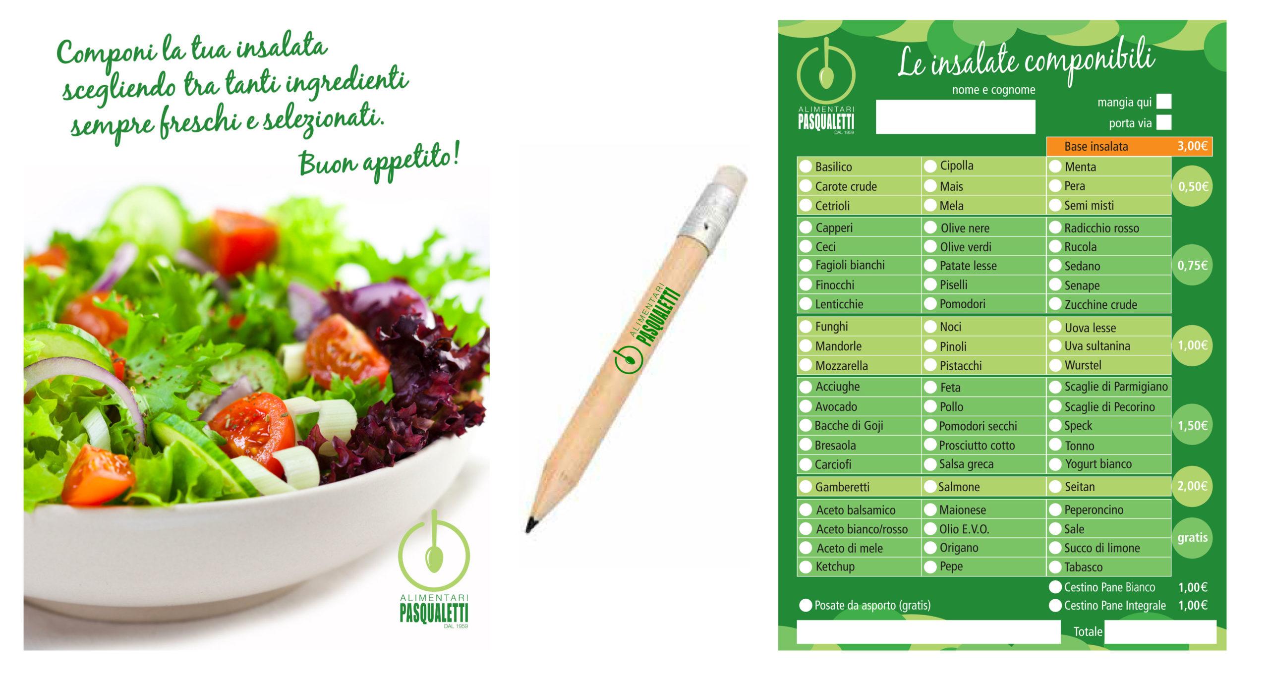Realizzazione menu insalate, lapis con logo, e cartellone pubblicitarioAlimentari Pasqualetti