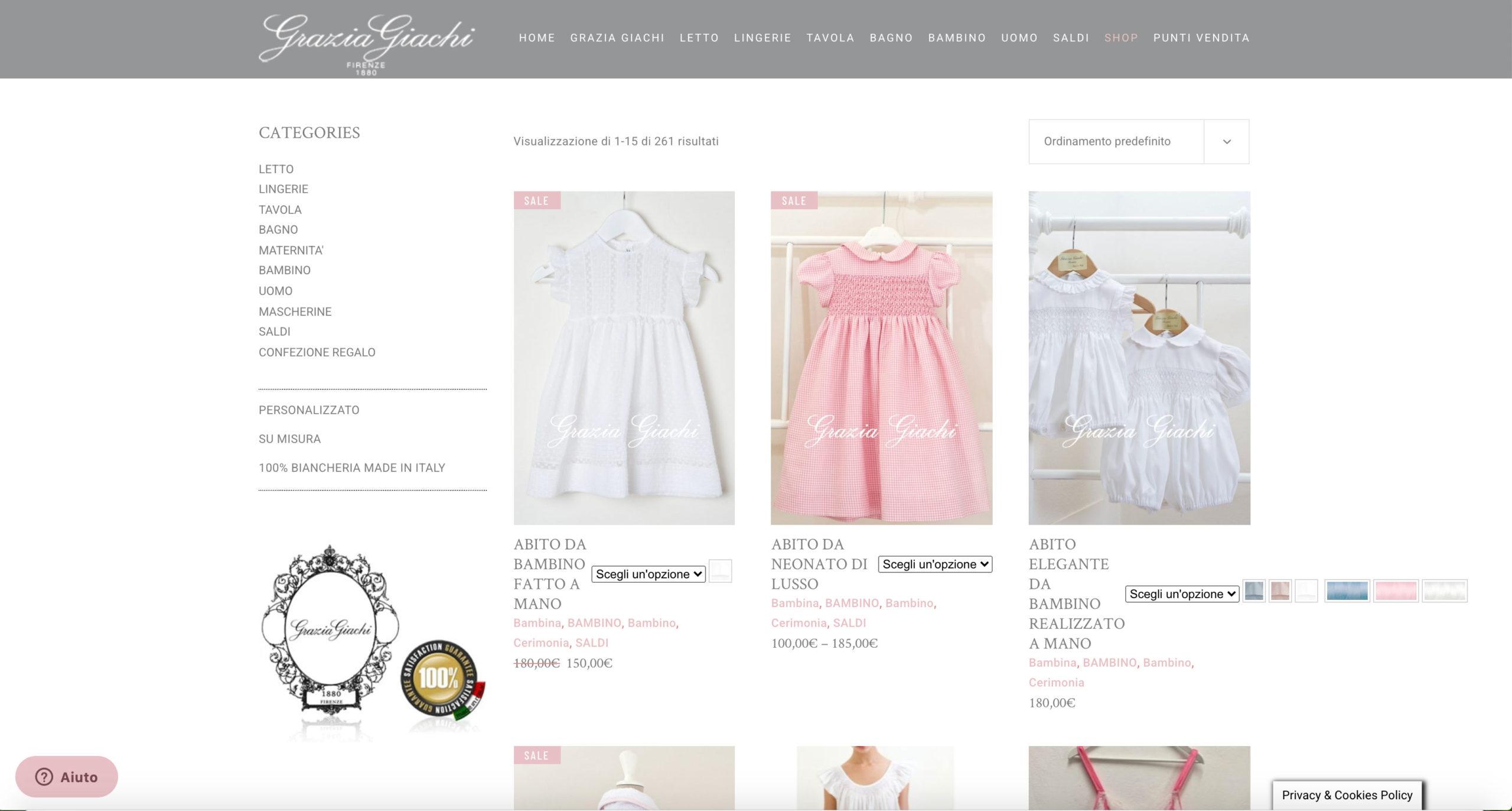 E-Commerce Grazia Giachi realizzato da SG Consulting