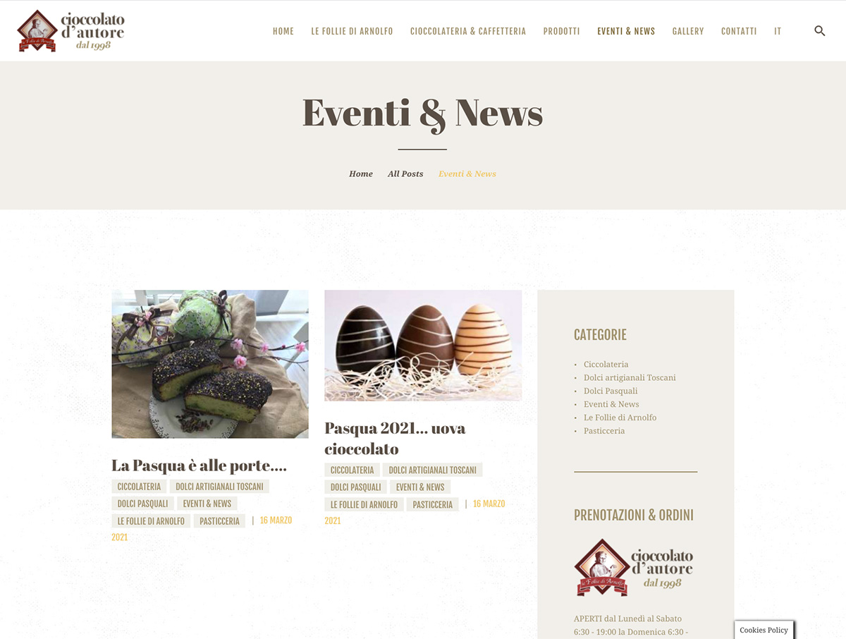 Sito wordpress Cioccolateria Le Follie di Arnolfo